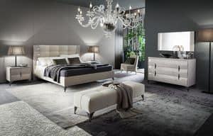 DUNE Bett, Gepolstertes Designbett aus Holz mit Frisé-Effekt