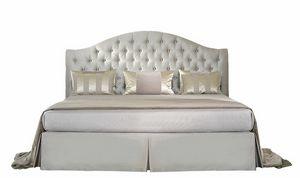 Elena, Klassisches Bett mit Capitonné-Polsterung
