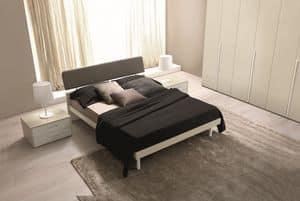 Felix, Bett mit Kopfteil in zwei Materialien, modernes Hotel