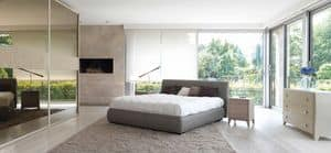 Fun Bett, Doppelbett, Polsterkopfteil, Stoffbezug