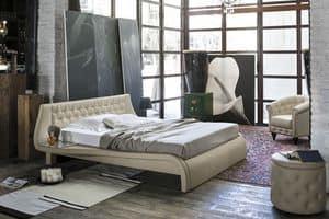 GIGLIO BD443, Doppelbett mit gepolstertem Kopfteil für moderne Schlafzimmer