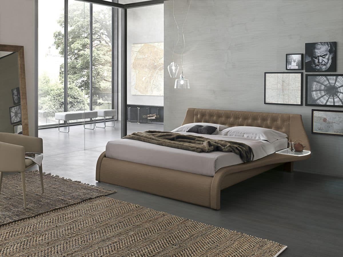king size bett in soft touch gepolstert mit kopf idfdesign. Black Bedroom Furniture Sets. Home Design Ideas