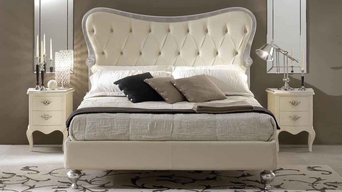 Bett in Holz geschnitzt, gepolstertes Kopfteil Tufting | IDFdesign