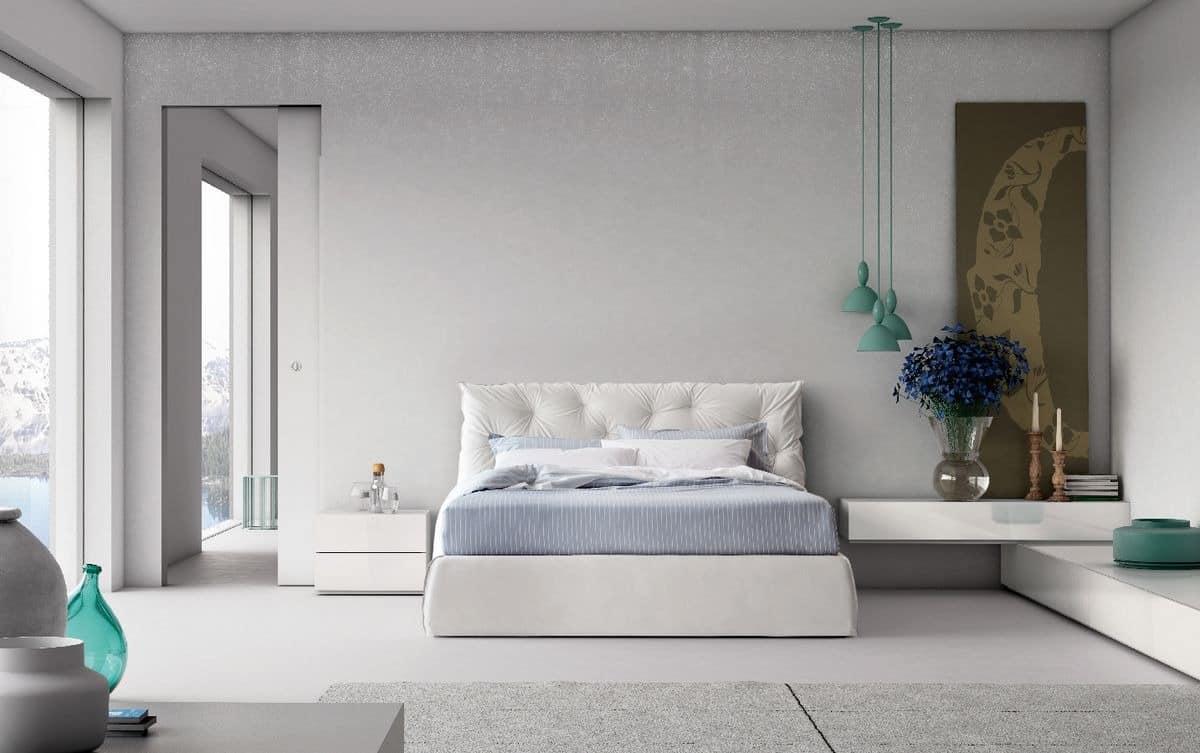 Im modernen stil doppelbett mit gepolstertem kopfteil for Muebles capitol