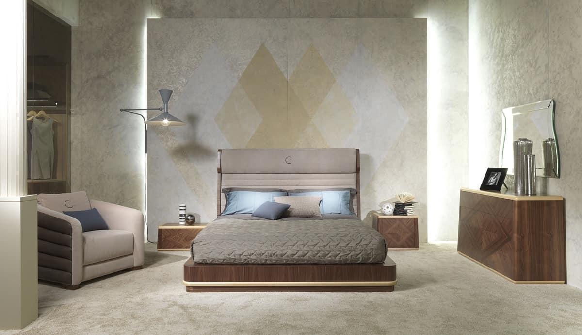 Doppelbett, Polsterkopfteil, für Schlafzimmer   IDFdesign