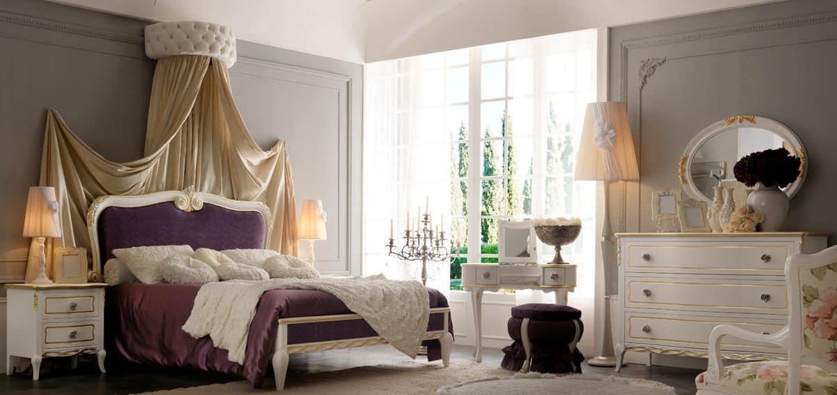 doppelbett mit gepolstertem kopfteil im klassischen stil. Black Bedroom Furniture Sets. Home Design Ideas