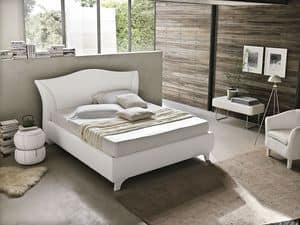 MADDALENA BD438, Modernes Doppelbett mit gepolstertem Kopfteil gebogen