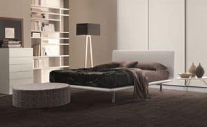 Paris, Bett im Kunstleder mit gewölbter Decke, für Schlafzimmer