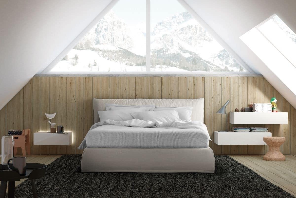 Modernen Stil Bett mit gepolstertem Kopfteil und Bettrahmen | IDFdesign