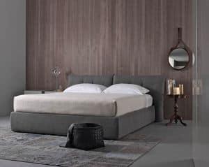 Plume New, Bett mit gepolstertem Kopfteil, in Leder