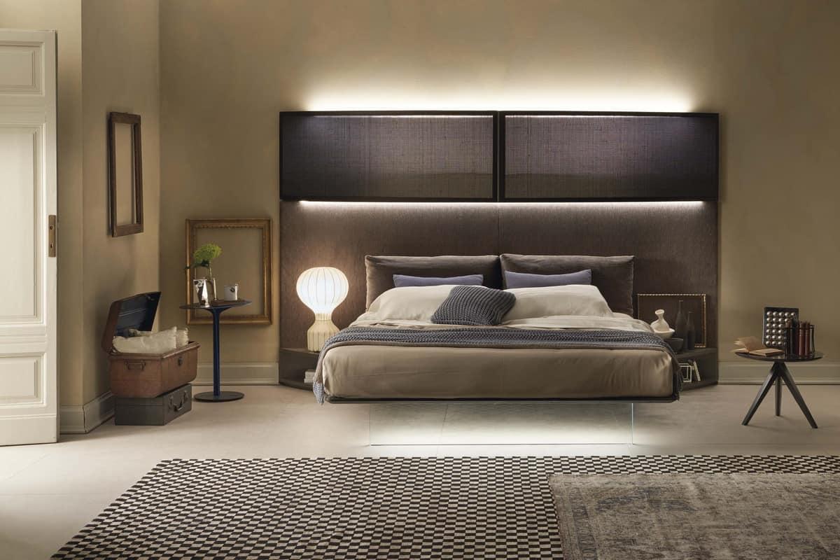 Bett Aus Holz Mit Gepolstertem Kopfteil ~ Bett mit gepolstertem Kopfteil beeindruckend, mit Lichtern  IDFdesign