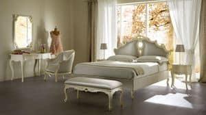 Sissi Polsterbett, Polsterbett aus massivem Holz, für Luxus-Hotels