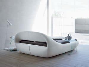 SLEEPY, Elegante Doppelbett, gepolstert, mit einer ursprünglichen Form