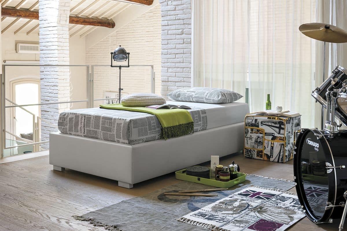 Einzelbett gepolstert in Soft-Touch, moderner Stil | IDFdesign