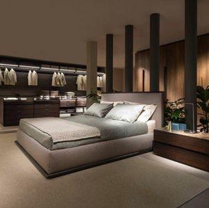 Stardust Bett, Container Doppelbett mit gepolstertem Kopfteil