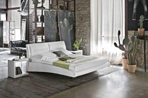 STROMBOLI BD439, Doppelbett mit Lederbezug für moderne Schlafzimmer