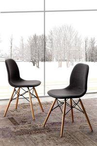 Art. 289 Shell Dress, Gefüllte Stuhl, mit Beinen in Buche natur