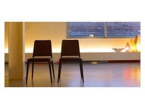 Dea, Polsterstuhl mit Gestell aus Massivholz