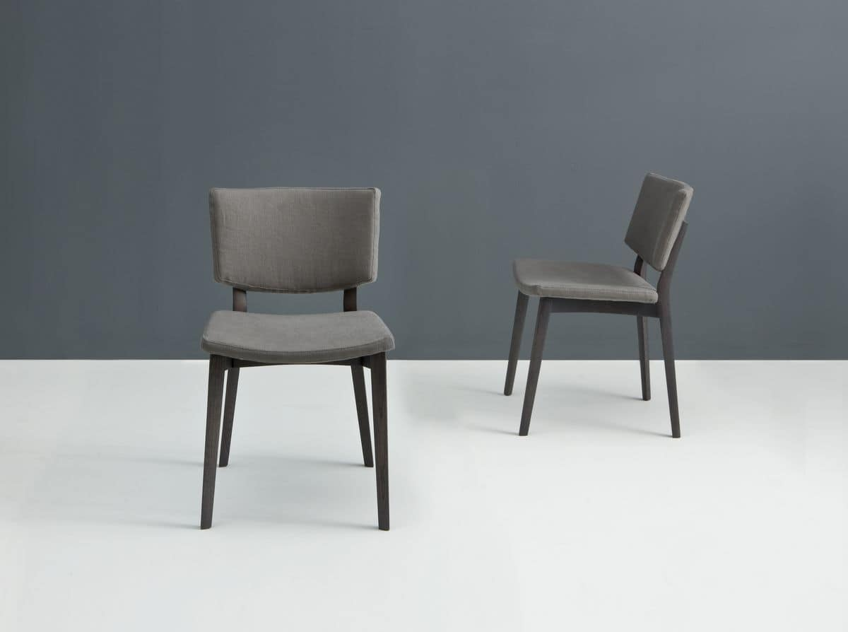 Moderne sessel mit gepolstertem sitz und r cken suitef f r for Holzstuhl mit leder