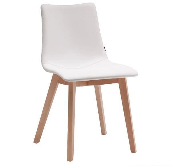 Natural Zebra Pop, Moderner Holzstuhl mit gepolsterter Sitzschale