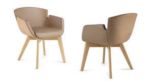 NUBIA 2908, Stuhl mit Leder bezogen für Wartezimmer