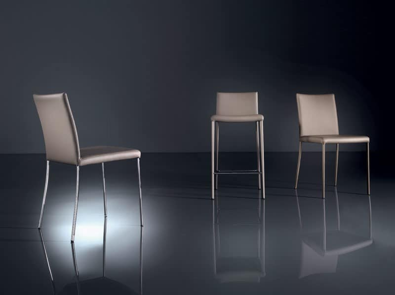 ART. 219 PRISCILLA  , Moderne Stuhl aus lackiertem Metall, abnehmbaren Stoff