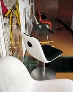 Boum Disc Base, Drehstuhl mit runder Basis und Sitz in Kunststoff beschichtet