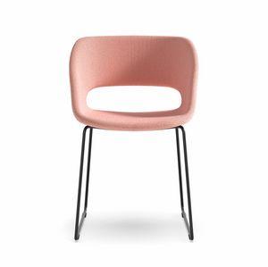 Kabira SL, Stuhl mit Sockel aus Stahlrohr und gepolsterter Schale
