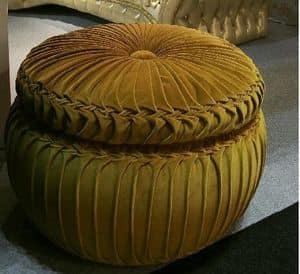 Bon bon, Runde gepolsterte pouf, in Samt überzogen, handgefertigt