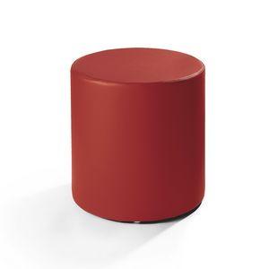 Cilindro 40, Leder Hocker, zylindrische Form, für moderne Wohnzimmer