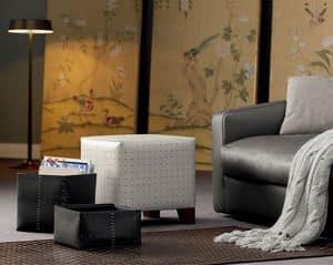 Esteso, Leder-Sitzpuff Holzstruktur, Polsterung aus Polyurethanschaum, ideal für moderne Wohnräume
