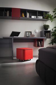 Puffo, Puff aus Sperrholz in Leder bezogen, mit Box-Container