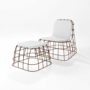 Bauletto, Hocker für draußen mit Eisenstruktur