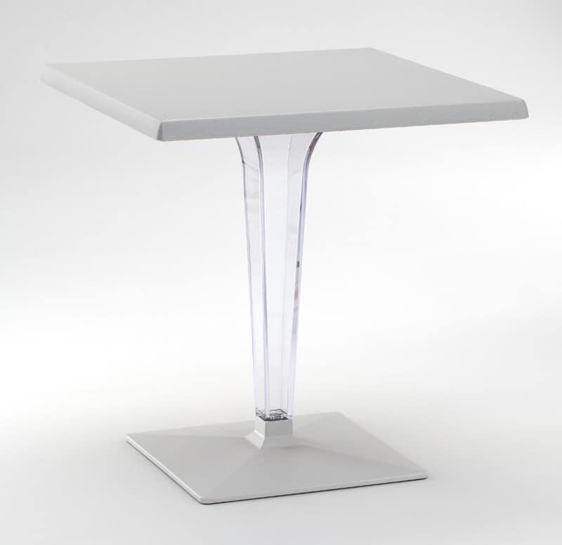 FT 718, Tisch mit Basis und Platte aus Aluminium, Polycarbonat Spalte