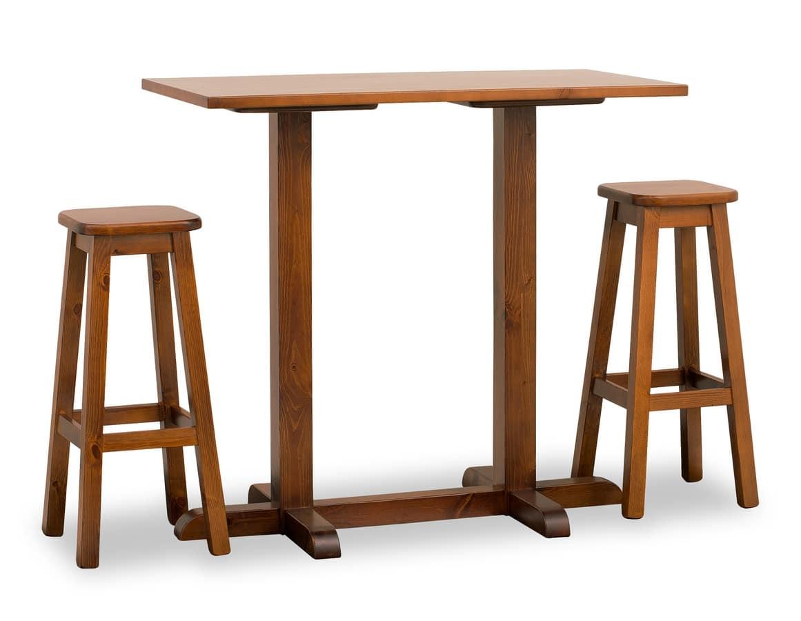 bar tisch mit zwei s ulen ganz in kiefer idfdesign. Black Bedroom Furniture Sets. Home Design Ideas