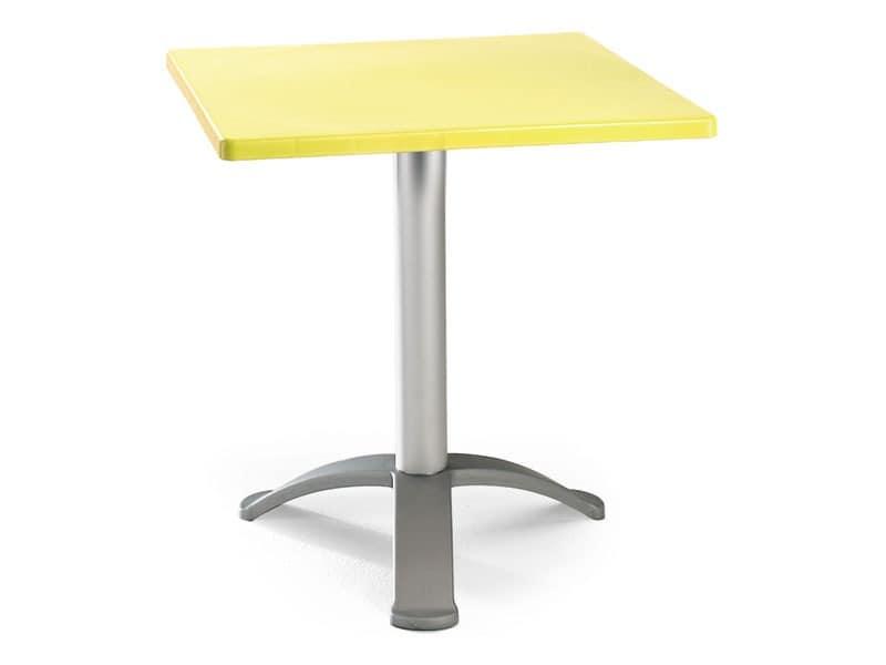 Table 60x60 cod. 20/BG3, Quadratischen Tisch mit eloxierte Alu-basis
