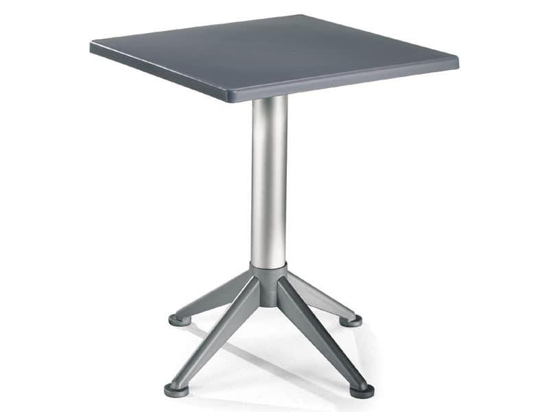 quadratischen tisch mit 4 fu aluminium basis idfdesign. Black Bedroom Furniture Sets. Home Design Ideas