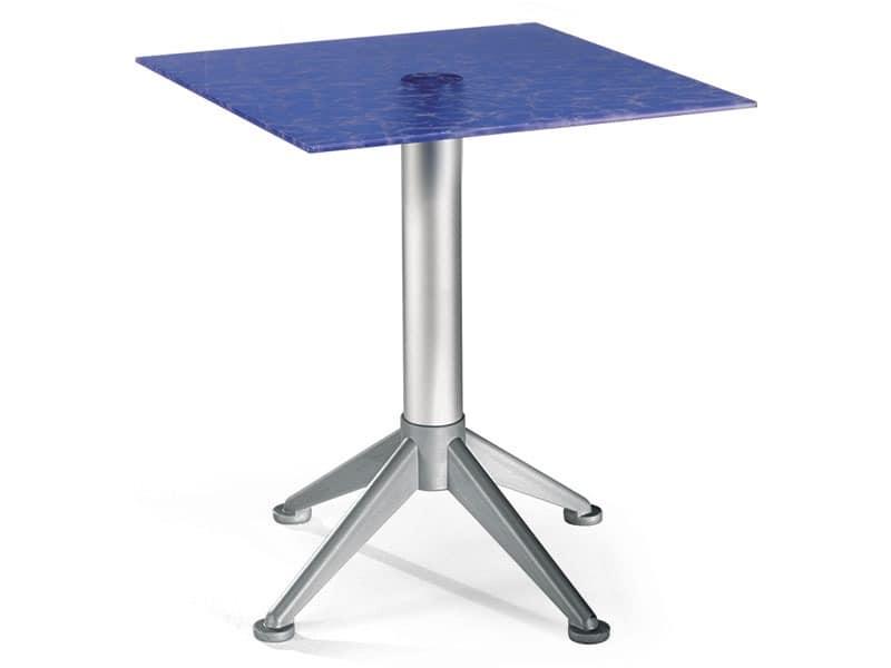 Table 60x60 cod. 20/BG4AV, Stahl-Couchtisch mit farbigen Glasplatte