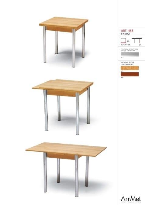 Parigi 70x70, Viereckiger Tisch, ausziehbar, für Kücheneinrichtung