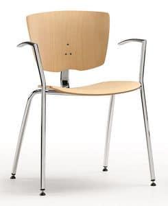 VEKTA 101, Stapelbarer Stuhl aus verchromtem Metall und Buchensperrholz