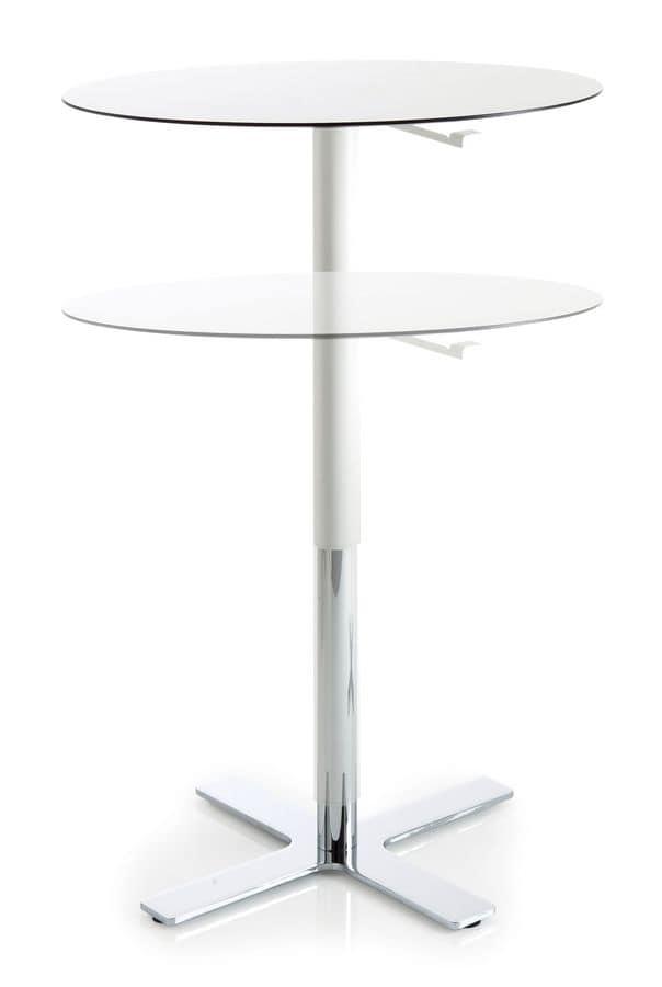 rund stehtisch mit rahmen aus verchromtem metall laminat tisch mit variabler h he idfdesign. Black Bedroom Furniture Sets. Home Design Ideas