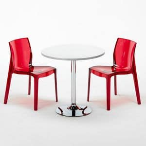 Stühlen und stapelbar Tisch - SET2SGHOST, Runden Tisch mit transparenten Stühlen, für Bars und Hotels