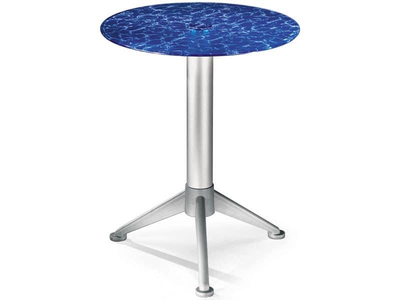 Table Ø 60 cod. 05/BG3A, Couchtisch mit gehärtetem farbigen Glas