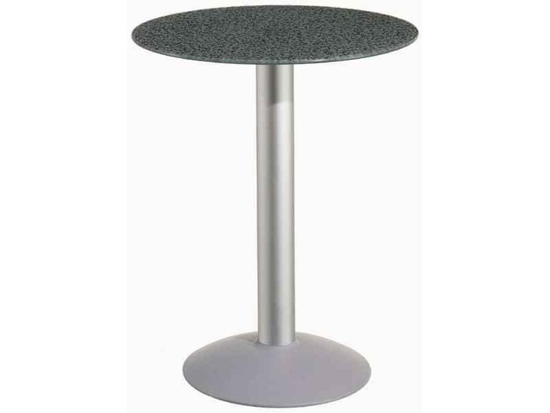 Table Ø 60 cod. 05/BTV, Runder Tisch mit Aluminium-Basis, zum Garten und Pool