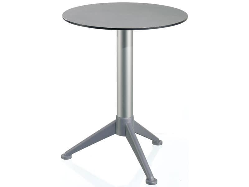 Table Ø 60 cod. 07/BG3A, Kleiner runder Tisch mit Tischplatte aus Alusystem