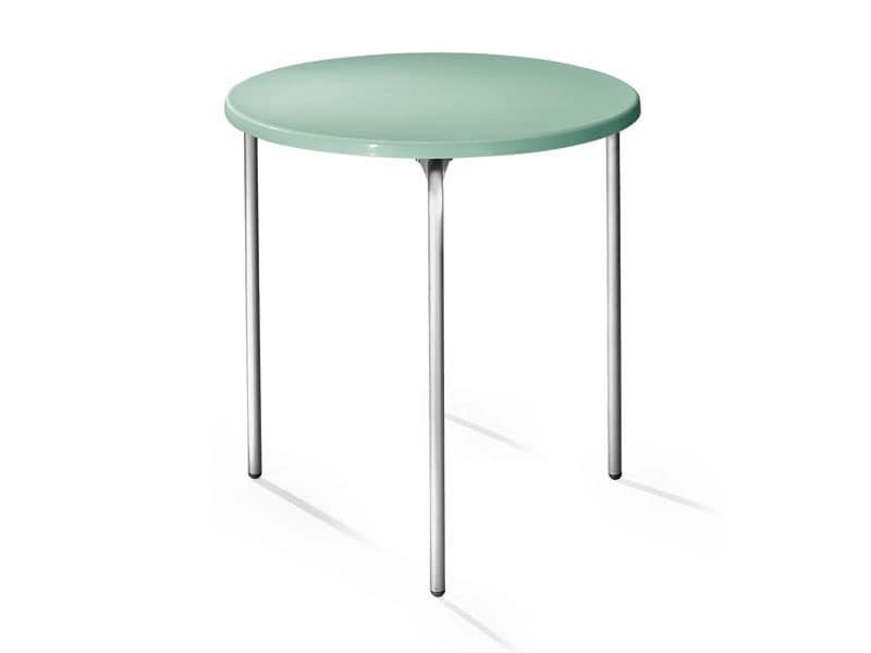 Table Ø 72 cod. 01, Runder Tisch, Tischplatte aus Polypropylen, Aluminiumbeine