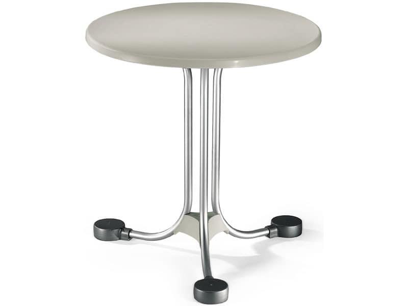 Table Ø 72 cod. 02, Runder Tisch für Außenbilanzen aus Aluminium