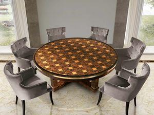 ART. 3290, Runder Tisch mit eingelegter Platte