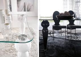 BEXLEY, Esstisch mit Glasplatte und Marmor Beine