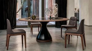 DOLLY, Tisch mit lackiertem Agglomeratboden, Glas- oder Keramikplatte mit Holzring